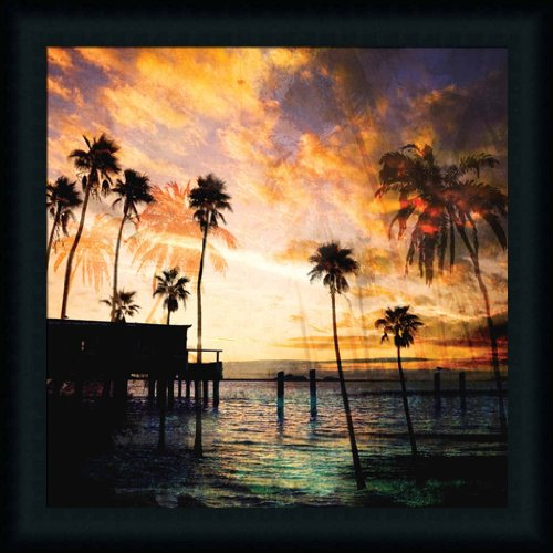 Sunset On The Pier B By Gi Artlab Colored Photography 21X21 Framed Art Print Picture Wall Decor front-527364