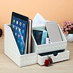 JHGJ PU Leather Office Supplies Organizer Remote control / controller TV Guide / mail / CD organizer / caddy / holder / Tissue box / Ipad/Media/Card/Remote Control Holder Organizer (White)