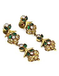 12.40 Grams White Cubic Zirconia & Green Glass Gold Plated Brass Victorian Earrings