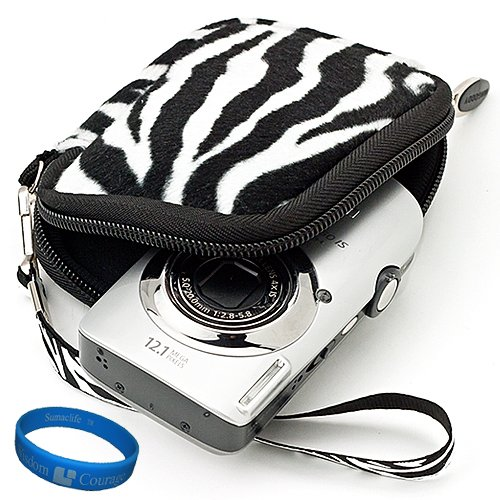 Black White Zebra Print Print Design Fur Covered VG Neoprene Sleeve Protective Camera Pouch Carrying Case for Samsung ST66 ST93 ST95 ST90 ST65 ST30 ST700 ST80 ST100 ST550 SL202 SL30 SL102 DV300F MV800 PL150 PL170 PL120 PL200 PL210 PL100 SH100 WB210 WB700