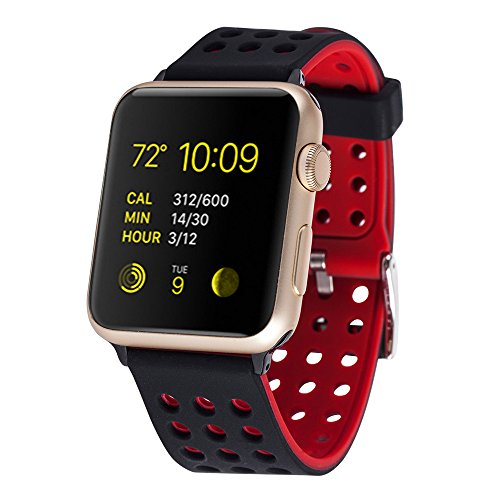 Huishang Apple Watch Sport Straps, Replacement Soft Silicone Wristband Sports Accessories Band Bracelet for Apple Watch Series 1 / 2 Wrist Strap bands (42mm, Black/Red)