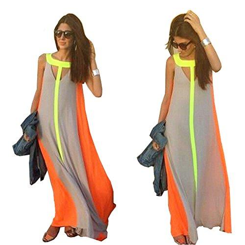 Lisli Women's Summer Boho Long Maxi Dress Evening Cocktail Party Beach Chiffon Dresses (XL)