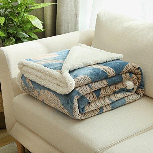 BDUK La lana di agnello composito di velluto e coral-plaid in pile caldo inverno coperte singola doppia coperte
