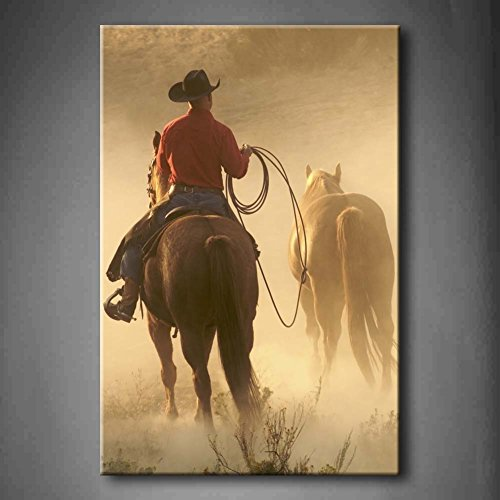 Cowboy Bringing Horses In For The Evening Wall Art Painting The Picture Print On Canvas Animal Pictures For Home Decor Decoration Gift (Stretched By Wooden Frame,Ready To Hang)
