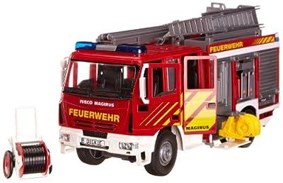 Dickie Spielzeug 203444537 - Iveco Feuerwehrfahrzeug, circa 30 cm, rot/weiß