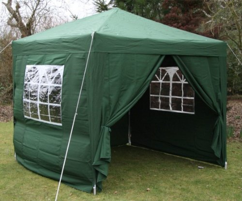 2.5x2.5mtr GREEN Pop Up Gazebo, FULLY WATERPROOF with Four Side Panels and Carrybag