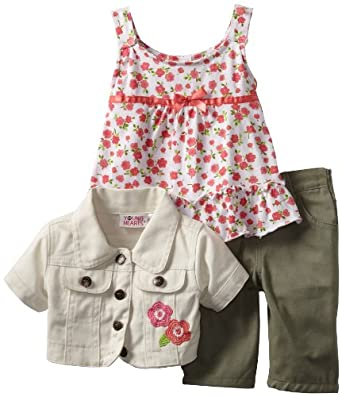 Young Hearts Baby-Girls Infant Floral Jacket Set, Tan, 12 Months