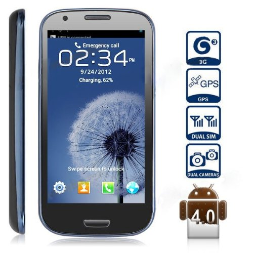Unlocked Quadband Dual Sim Android 4.1 OS With 4.7 Inch Capacitive Touch Screen 3G Smart Phone &#8211; AT&amp;T, T-mobile, H20, Simple mobile and other GSM networks (Blue)