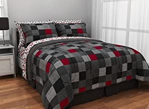 TWIN Red Black Gray Loft Living Geo Blocks Complete Bed in a Bag Bedding Set