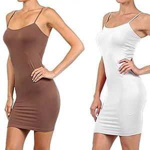 Yelete Womens 2 Pack Nylon Cami Slip Dresses (White & Taupe, One Size) from Yelete