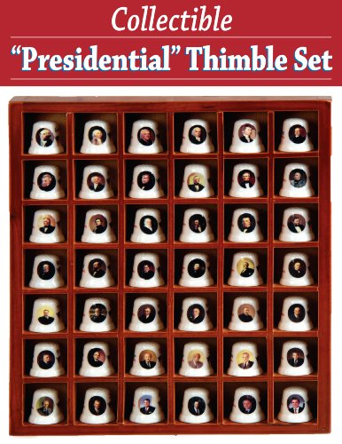 COLLECTIBLE CERAMIC PRESIDENTIAL THIMBLES SET WITH WOOD COLLECTORS CASE (FEATURES 42 PRESIDENTS!)