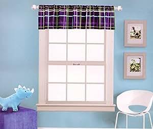 Kas Kids Dino Blue Plaid Window Valance Home Kitchen