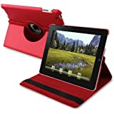 360-degree Swivel Leather Case Compatible with Apple? iPad? 2, Red