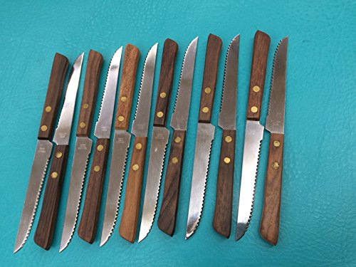 Pack Of 12 Wooden Handle Steak Knives (Reed Broom compare prices)