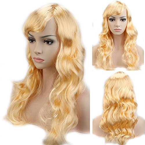 [Cosplay Synthetic Full Wig with Bangs 20 Styles Heat Resistant Fiber Vogue Long Curly Wavy Layered 19'' / 19inch for Women Girls Lady Halloween Anime Costume Party Date,Light] (Costumes For Adults Diy)