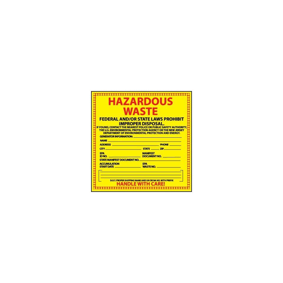 Hazard Labels, Hazardous Waste New Jersey, 6X6, Adhesive