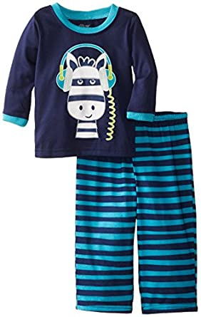 Little Me Baby-Boys Infant Zebra 2 Pieces Pajamas, Navy Stripe, 12 Months