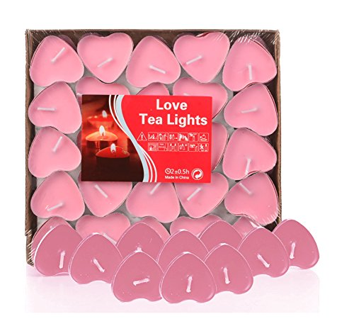 G2PLAY Heart Shaped Smokeless Candles, 50PCs Set Romantic Love Candle Bulk for Wedding, Birthday, Party, Halloween, Christmas, Festival (Pink)