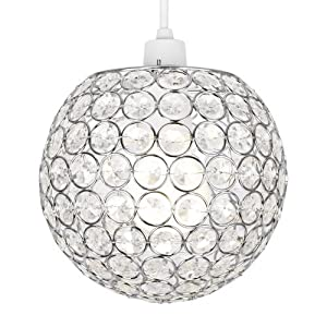 Modern Chrome Globe Ceiling Light Shade with Acrylic Crystal Effect Jewels by 7th-ave