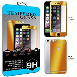 iPhone 6 Colorful Screen Protector Tempered Glass, BACK & FRONT Nue Designs Cases TM Fully Body Colored Tempered Glass Body Sticker 2.5D Round Edge 9H Hardness Full Body Premium Tempered Glass Screen Protector For iPhone 6, 4.7 inch (GOLD)