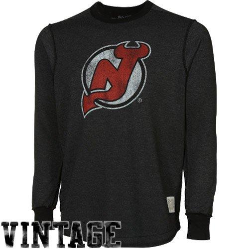 Original Retro Brand New Jersey Devils Streaky Body Raglan Long Sleeve Premium T-shirt - Charcoal (X-Large)