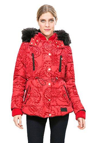 DESIGUAL - Giacchetto piumino cappotto con cappuccio da donna marlene 46 (xxl) rosso