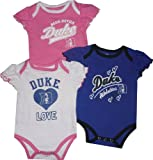Duke Blue Devils Baby Girls Blue/White/Pink 3-Pack Creeper Set