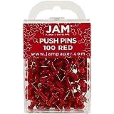 JAM Paper® - Red Push Pins / Thumb Tacks - 100 Colorful Pushpins per Container