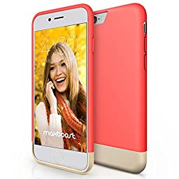 iPhone 6 Case, Maxboost [Vibrance Series] Protective Slider Case for Apple iPhone 6 (4.7) SOFT-Interior Scratch Protection with Vibrant Trendy Color - Italian Rose / Champagne Gold
