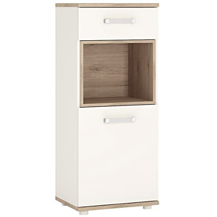 Furniture To Go 4Kids 1 Door and 1 Drawer Narrow Cabinet with Opalino Handles, Wood, White Gloss/Light Oak