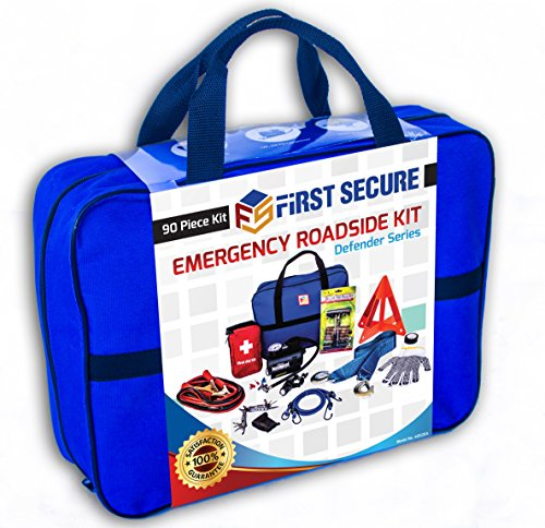 First Secure 90 Piece Roadside Emergency Car and Truck Kit with Safety Tools & Accessories Bag: Jumper Cables for Battery•Auto Air Compressor•First Aid•Tow Rope•Triangle•Flashlight (Car And Trucks Accesories compare prices)