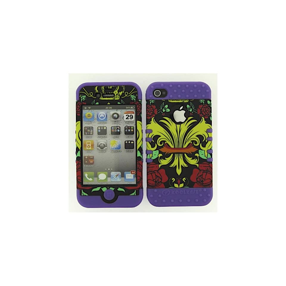 SHOCKPROOF HYBRID CELL PHONE COVER PROTECTOR FACEPLATE HARD CASE AND LIGHT PURPLE SKIN WITH MINI STYLUS PEN. KOOL KASE ROCKER FOR APPLE IPHONE 4 4S SAINTS FLEUR LP TE335
