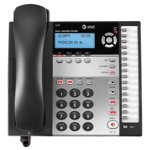 AT&T 1040 Corded Phone, Black/Silver, 1 Handset images
