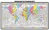 Zeitzonenkarte – Wenschow – DUO: Pinnwand und Magnetwand (pinnbar, magnethaftend), matt antireflexierend laminiert (beschreib- und abwaschbar), im Alurahmen gerahmt silber matt