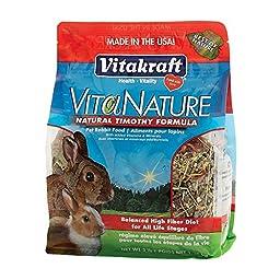 Vitakraft VitaNature Pet Rabbit Food - Natural Timothy Formula, 3 lb.