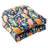 Pillow Perfect Indoor/Outdoor Ash Hill Wicker Seat Cushion, Navy, Set of 2