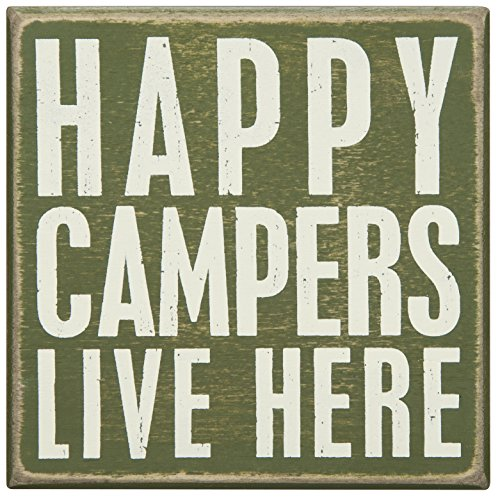 Primitives by Kathy Wood Box Sign, 5-Inch by 5-Inch, Happy Campers