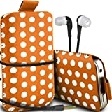 Samsung Galaxy Ace Style Supreme Protection Polka Faux Leather Pull Tab Cord Pouch Skin Cover Quick Release Case & 3.5mm Earbuds Earphones Headphones Orange & White By *Aventus*