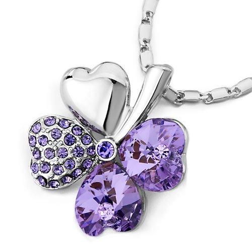 Pugster Four-Leaf Clover February Birthstone LIght Purple Swarovski Crystal Hearts Pendant Necklace