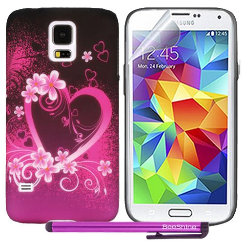 Beeshine Retail Package Protective Soft Rubber Skin Flexible Tpu Gel Case Cover With Lcd Film Screen Protector & Touch Stylus Pen For Samsung Galaxy S5 / Sv / G900 (Pink Love Heart And Flower)