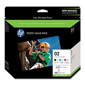 HP - HP 02 Ink Cartridge,w/150 Photo Sheets,BK/CY/MY/YW/LCY/LMA, Sold as 1 Package, HEW Q7964AN