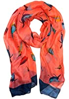 Peach Couture Pretty Vintage Finch Bird All-Over Print Light Sheer Scarf