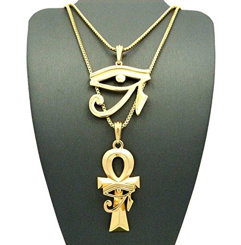"""Eye of Horus & Horus Eye Ankh Pendant Set with 24"""" 30"""" Box Chain Necklaces - Gold-Tone"""