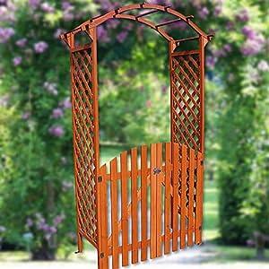 melko arche en bois pour rosier grimpant avec porte et toit type pergola jardin. Black Bedroom Furniture Sets. Home Design Ideas