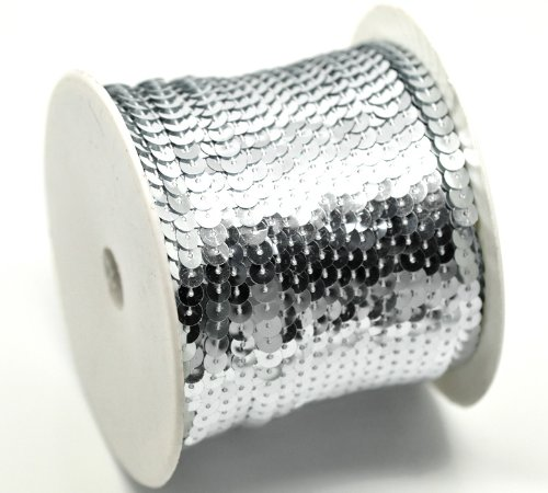 "PEPPERLONELY Brand, 100 Yard Roll Silver Color Flat Bling Sequins Spool String 6mm(1/4"")"