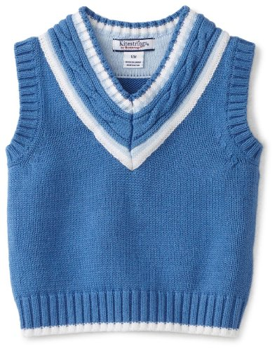Kitestrings Baby-Boys Infant Vest Sweater With Cable Knit Detail, Cadet Blue,...