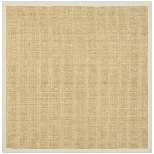 Safavieh Natural Fiber Collection NF441K Hand Woven Maize and Wheat Jute Square Area Rug, 4 feet Square (4' Square)