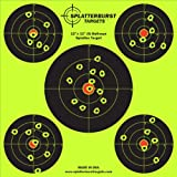 """50 Pack - 12""""x12"""" (5) Bullseye Splatter Target - Instantly See Your Shots Burst Bright Florescent Yellow Upon Impact!"""