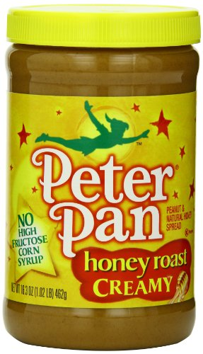 Peter Pan  Honey Roast Creamy Peanut and Natural Honey Spread, 16.3-Ounce Plastic Jars (Pack of 6)