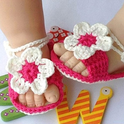 Museya Cartoon Flower Style Baby Newborn Hand-knitted Crochet Shoes Crib Shoes - 1